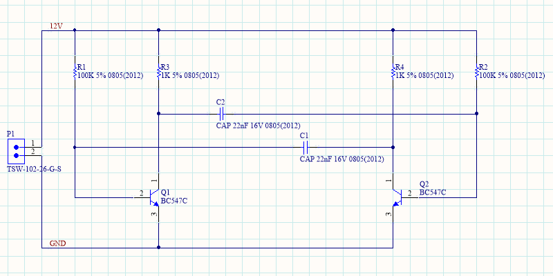 Net Labels have been added to the 12V and GND nets, completing the schematic.