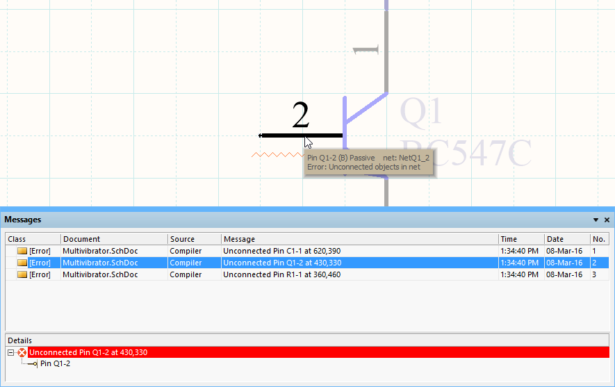 Use the Messages panel to locate and resolve design errors - double-click on an error to pan and zoom to that object.