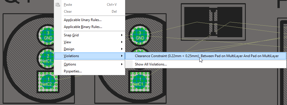 Right-click on a violation to examine what rule is being violated, and the violation conditions. In this image the display is in single layer mode, with the multi-layer as the active layer.