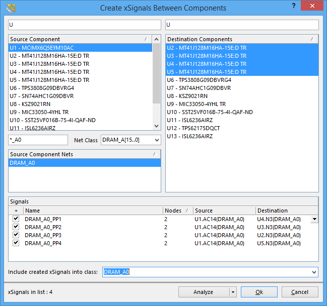 Use the dialog to quickly identify and create multiple xSignals, and add them to the required xSignal class.