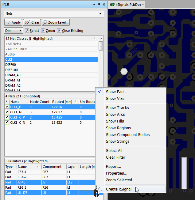 Select the 2 pads in the Nets mode of the panel, then right-click on one of the selected pads and choose Create xSignal. Note that the pads are in different nets.