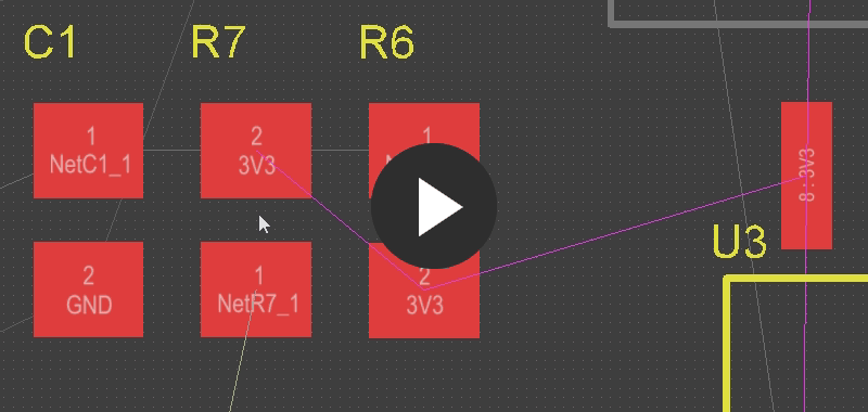 Note how the 3V3 connection lines jump around as R7 is moved, automatically being rearranged to keep the shortest overall connection length.