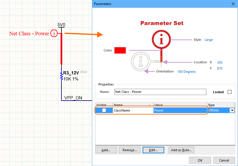 To add a net to a PCB net class, attach a Parameter Set object to the schematic net, then add a parameter to the Parameter Set object.