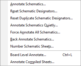 Various available annotation commands.