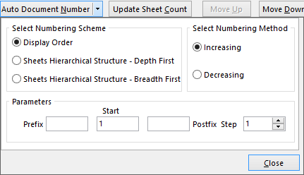Auto Document Numbering Options.
