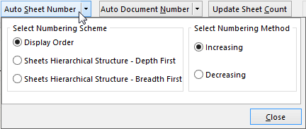 Auto Sheet Numbering Options.