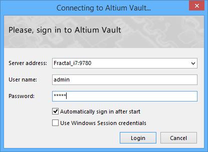 Connecting To Altium Vault | Altium Designer 17 0 User Manual