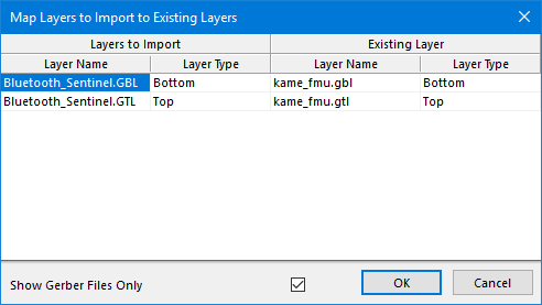 The Map Layers to Import to Existing Layers dialog