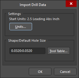 The Import Drill Data dialog