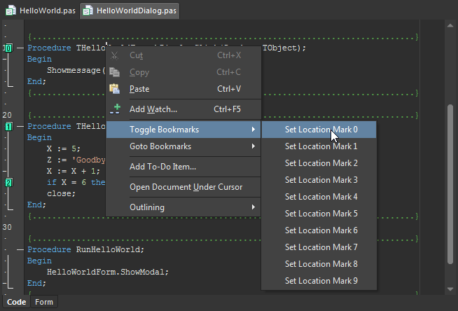 Use bookmarks to jump to a statement in the script quickly.
