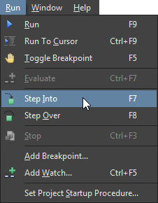 The Debugging commands available in the Run menu.