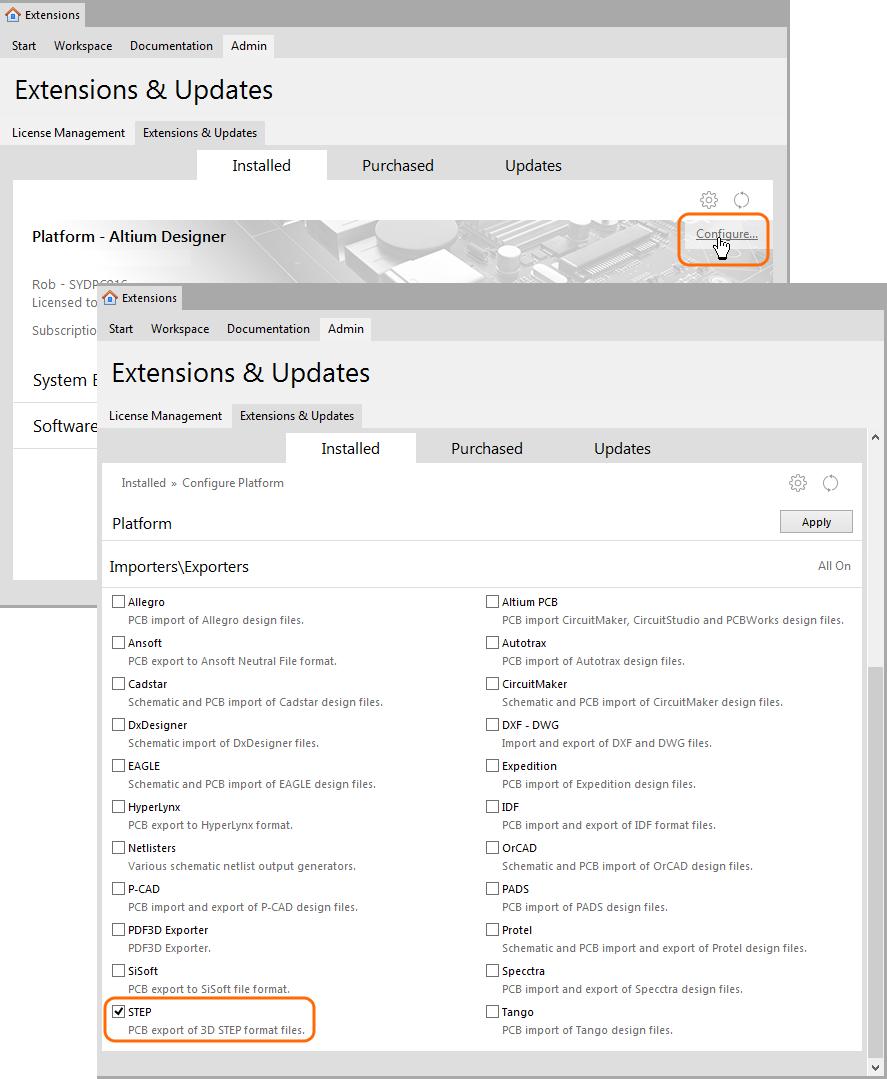 STEP Export-Import | Altium Designer 15 1 User Manual
