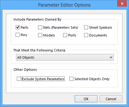 Setting parameter management options.