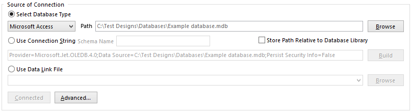 Specifying the connection to the external database.