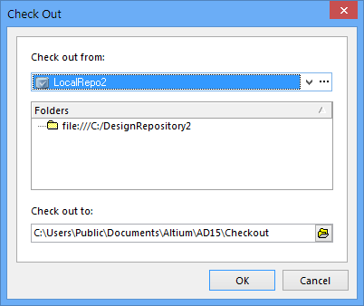 Once a compatible VCS repository is accessible in Altium Designer, design files can be added to (left dialog image) and checked out from (right dialog image) the repository.
