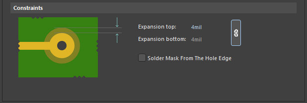 Default constraints for the Solder Mask Expansion rule. & Solder Mask Expansion | Online Documentation for Altium Products