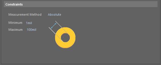 Default constraints for the Hole Size rule.