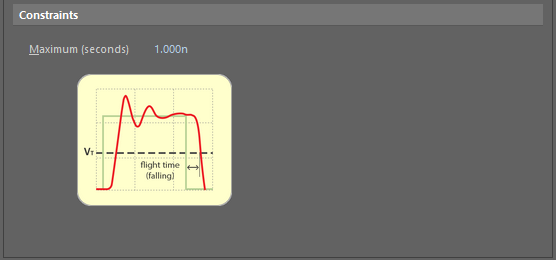 Default constraints for the Flight Time - Falling Edge rule.