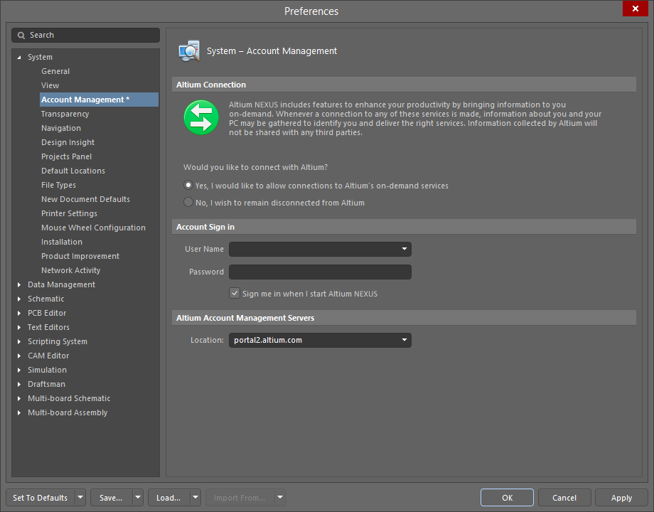 The System - Account Management page of the Preferences dialog
