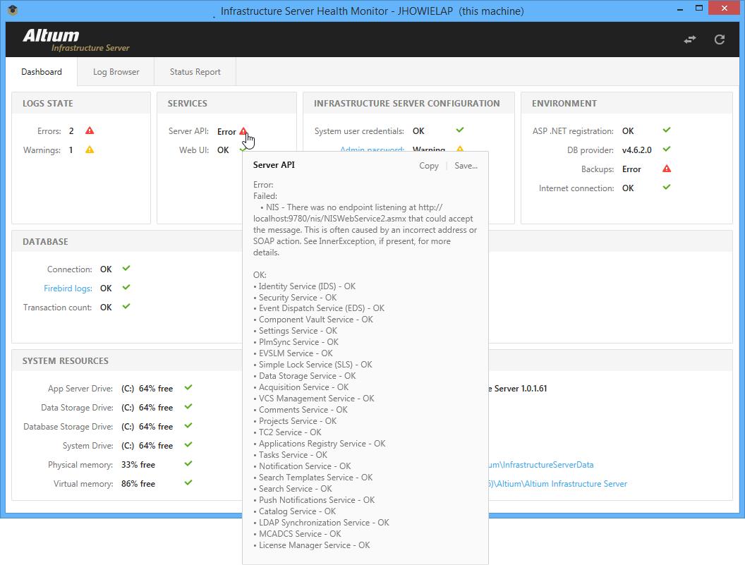 Infrastructure Server Health Monitor | Altium Designer 16 0 User
