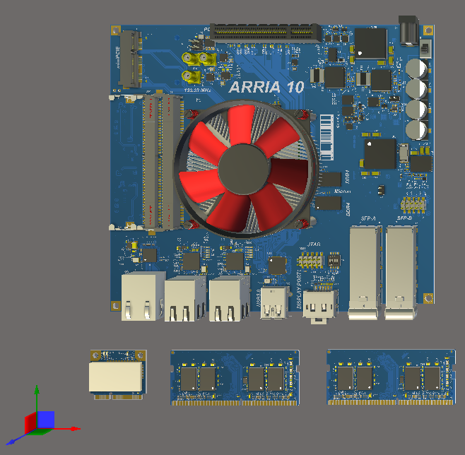 The four boards in this Multi-board assembly loaded into the Assembly editor workspace, ready to be positioned.