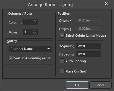 The Arrange Rooms dialog