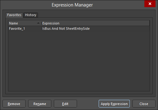 The Favorites tab of the Expression Manager dialog