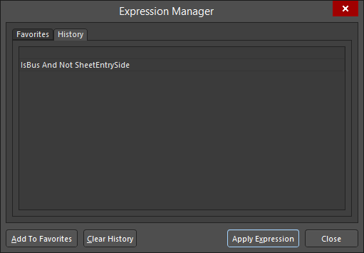 The History tab of the Expression Manager dialog