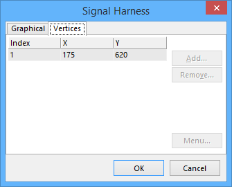 Signal Harness dialog - Vertices tab.