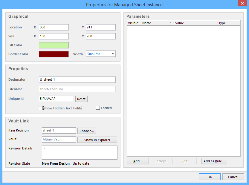 The Properties for Managed Sheet Instance dialog.