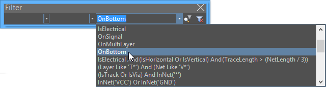 Accessing the Filter Select feature from the Filter toolbar in the PCB Editor.