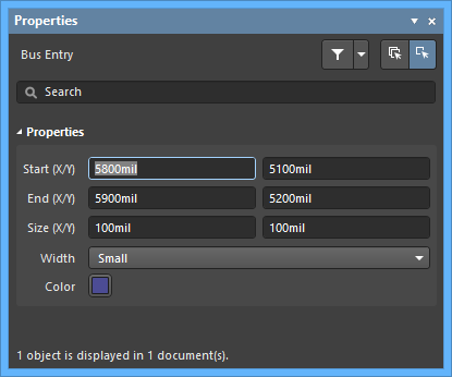 The Bus Entrydefault settings in thePreferences dialog and the Bus Entrymode of the Properties panel