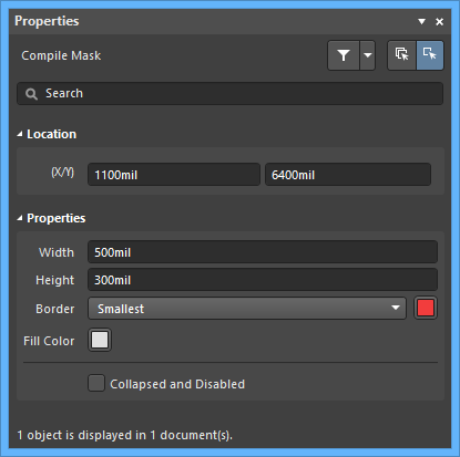 The Compile Maskmode of the Properties panel