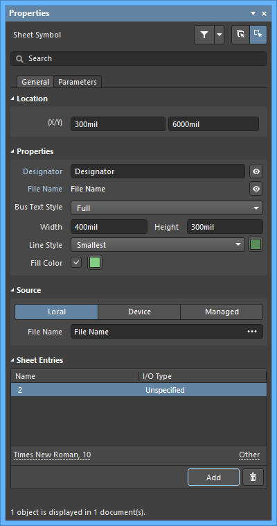 The Sheet Symboldefault settings in thePreferences dialog and the Sheet Symbolmode of the Properties panel