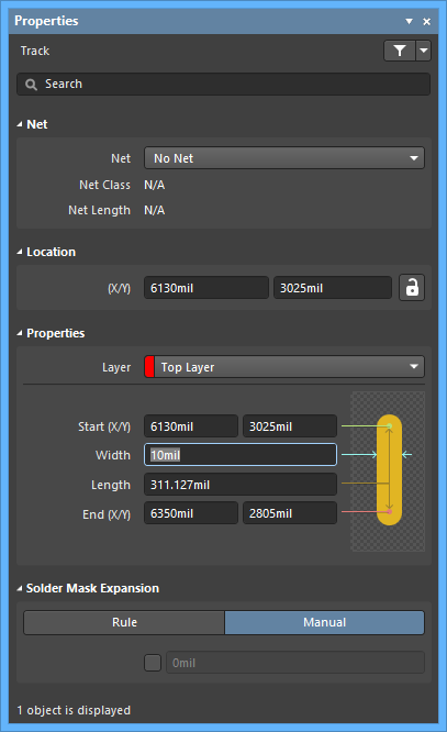 The Trackdefault settings in thePreferences dialog and the Trackmode of the Properties panel
