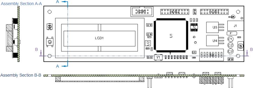 Размещенные виды Board Section View в горизонтальной и вертикальной секущей плоскостях вида Board Assembly View.