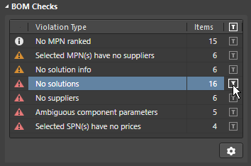 Click to filter out all BOM Items except those that fail this BOM check.  Click the Gear icon to configure the BOM Checks.