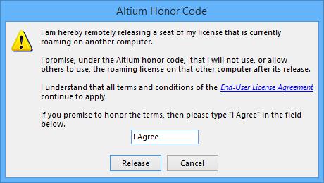The Altium Honor Code dialog