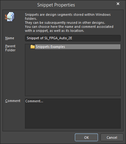 The Snippet Properties dialog