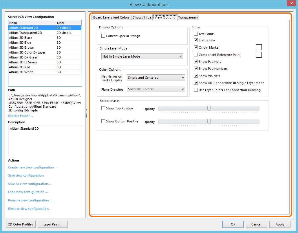 View Configurations - View Options tab | Altium Designer 17 1 User