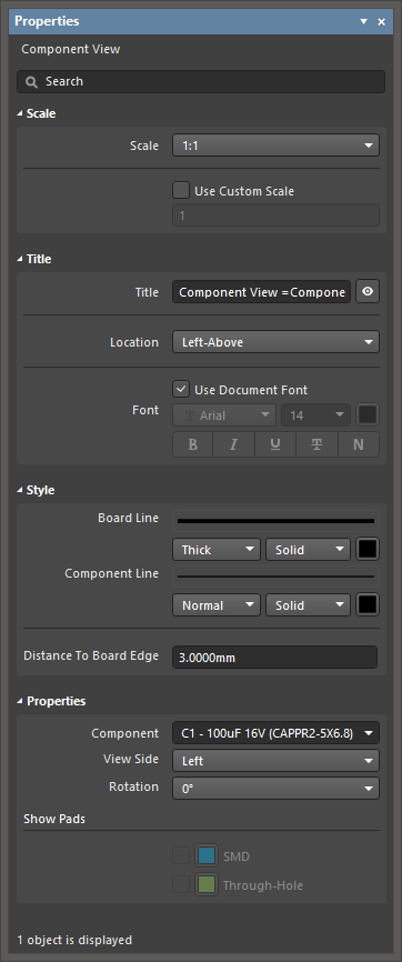 The Component View default settings in the Preferences dialogand the Component View mode of the Properties panel