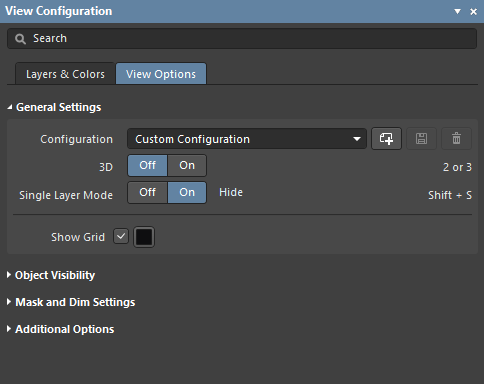 The General Settings change between 2D and 3D modes; hover the mouse to show the differences.