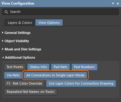 Control the display of connection lines in Single Layer mode.