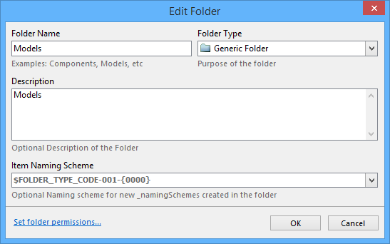Define the properties of the folder being added.