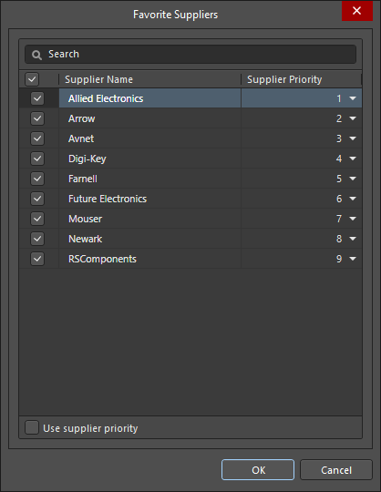 The Favorite Suppliers dialog