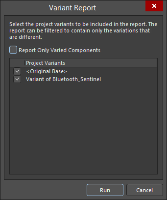 The Variant Report dialog