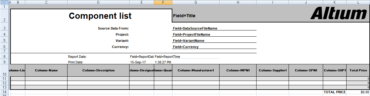 Including Design Data In The Excel Bom Online Documentation For