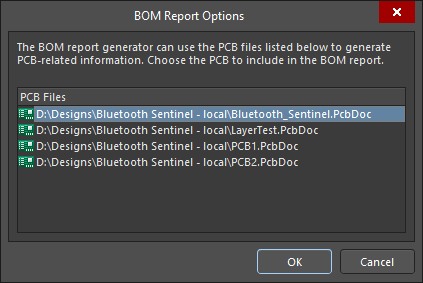 Choose which PCB to include in the BOM in the BOM Report Options dialog.