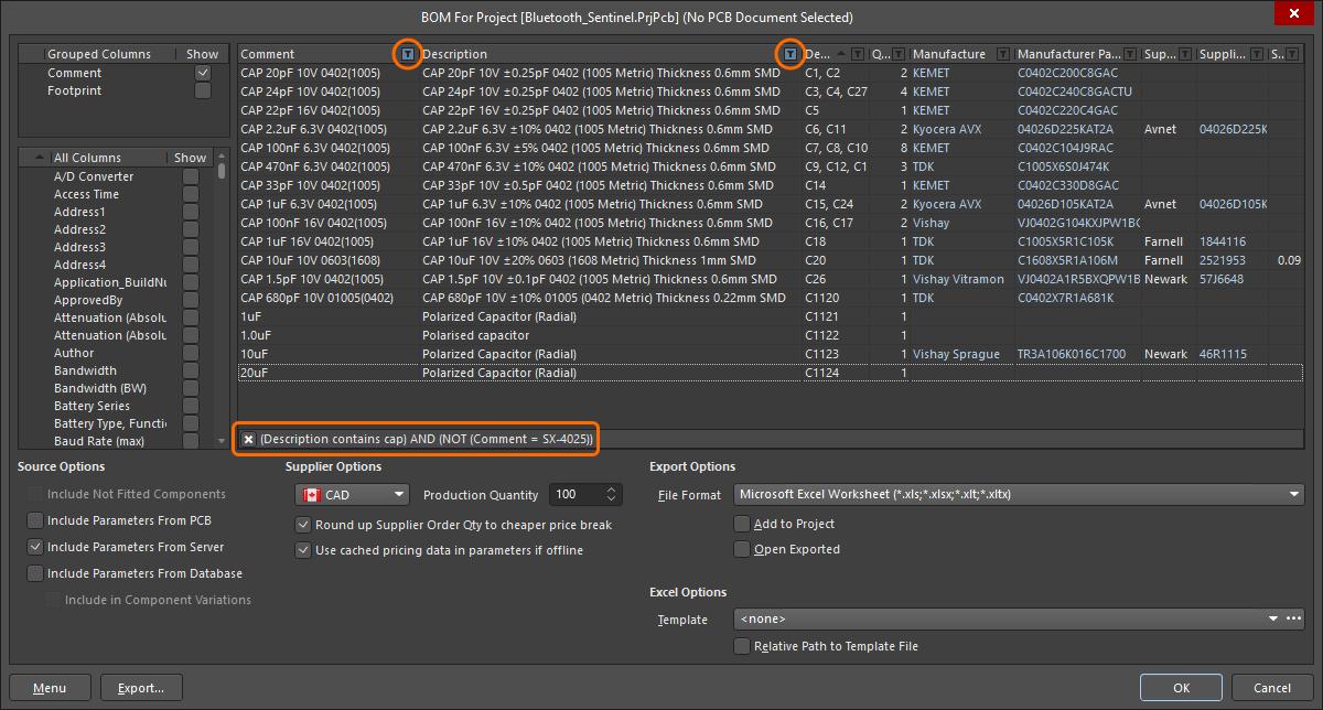 BOM Configuration in the Report Manager   Altium Designer 18 0 User