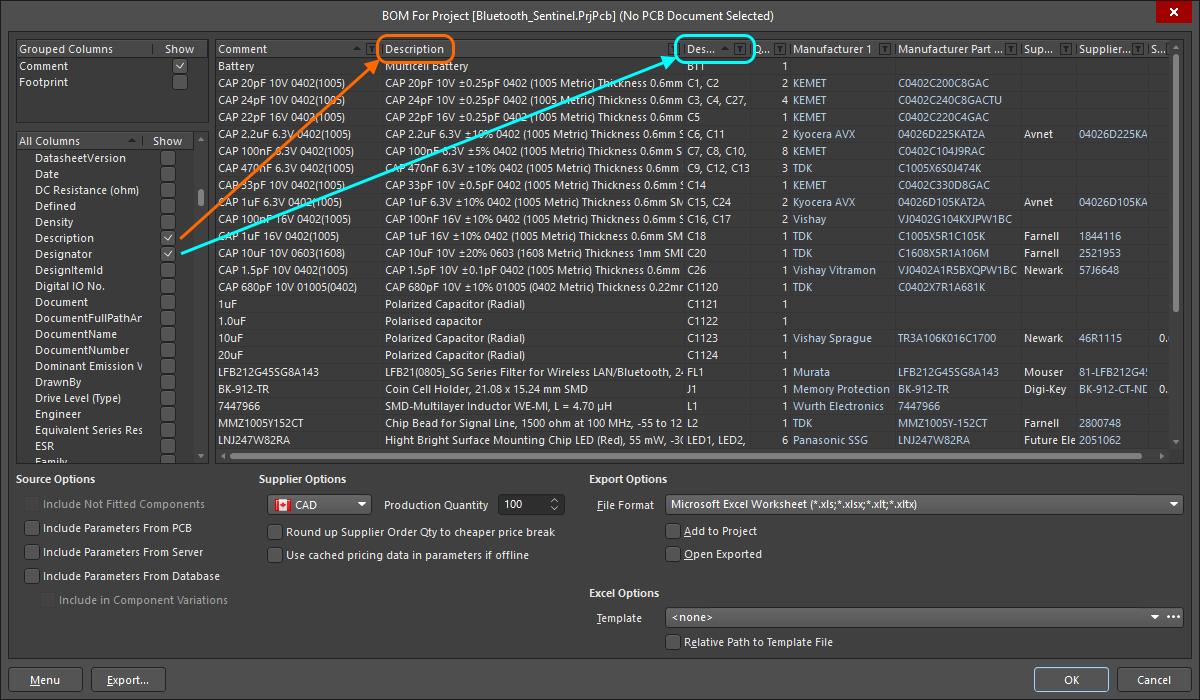 BOM Configuration in the Report Manager | Altium Designer